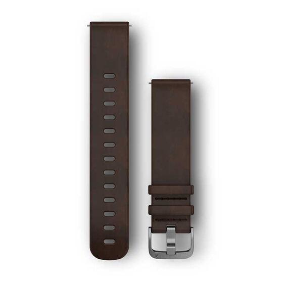 Garmin Quick Release 20mm Dark Brown Leather / Silver Watch Band, , rebel_hi-res