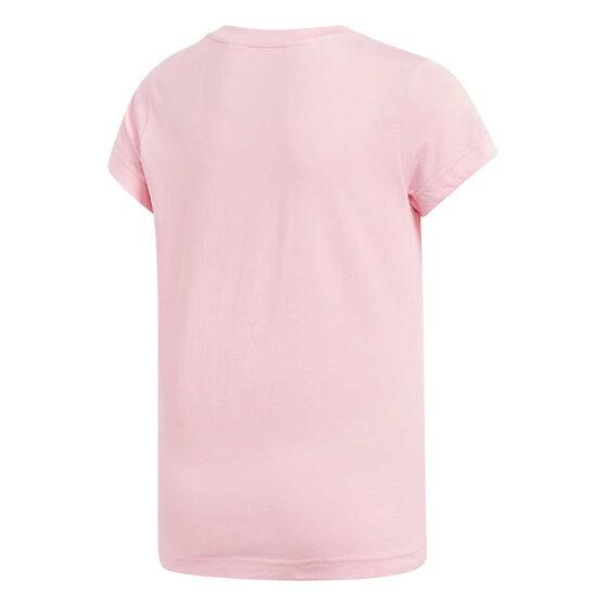adidas Girls Essentials Linear Tee Pink / White 14, Pink / White, rebel_hi-res