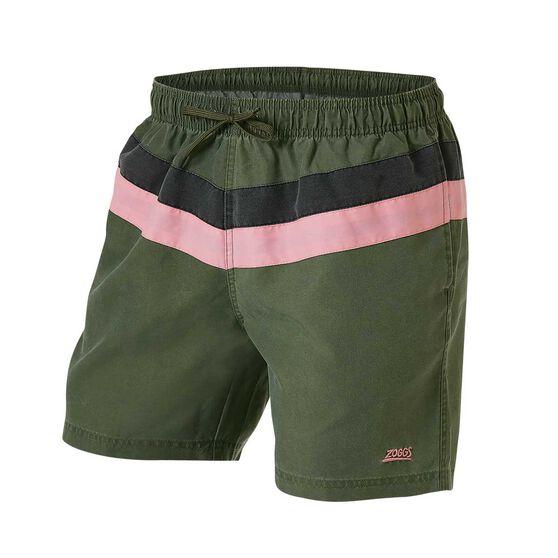 Zoggs Mens Axel Board Shorts, Green, rebel_hi-res