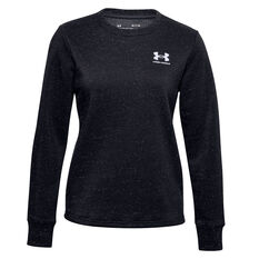 Under Armour Womens Rival Fleece LC Crew Sweater Black XS, Black, rebel_hi-res