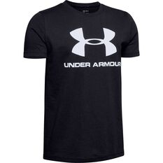 Under Armour Boys Sportstyle Logo Tee Black / White XS, Black / White, rebel_hi-res