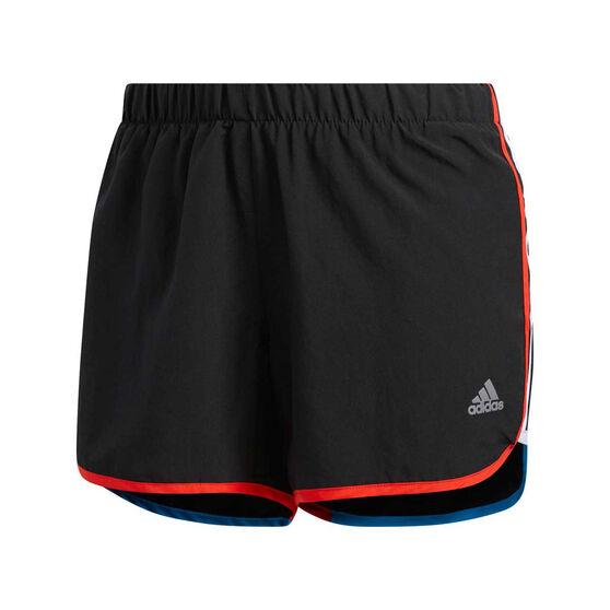 adidas Womens Marathon 20 Running Shorts, Black / Red, rebel_hi-res