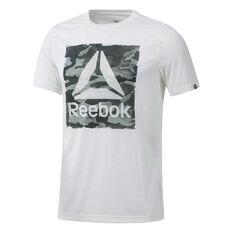 Reebok Mens Camo Logo Tee White S, White, rebel_hi-res