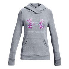 Under Armour Girls Rival Fleece Logo Hoodie Grey XS, Grey, rebel_hi-res