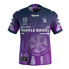 Melbourne Storm 2019 Mens Indigenous Jersey Purple 2XL, Purple, rebel_hi-res
