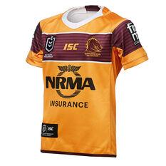 Brisbane Broncos 2019 Kids Away Jersey Yellow / Maroon 8, Yellow / Maroon, rebel_hi-res