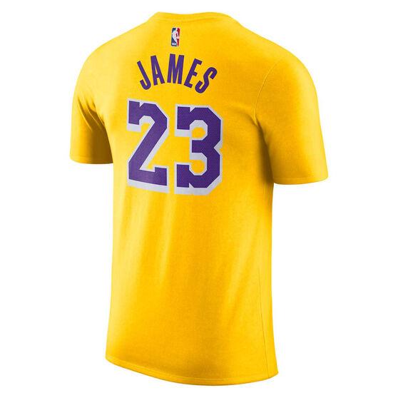Nike Los Angeles Lakers LeBron James Mens Dry Tee Yellow S, Yellow, rebel_hi-res