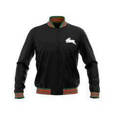 South Sydney Rabbitohs 2019 Mens Club Varsity Jacket Black S, Black, rebel_hi-res