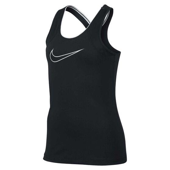 Nike Girls Pro Training Tank, Black / White, rebel_hi-res