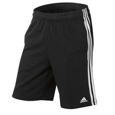 adidas Mens Essentials French Terry Shorts Black / White S Adult, Black / White, rebel_hi-res