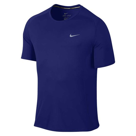 d18c700b Nike Mens Dri FIT Miler Running Short Sleeve Shirt White / Silver S, White /