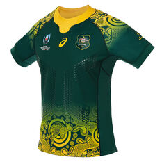 Wallabies 2019 Mens Rugby World Cup Away Jersey Green / Gold S, Green / Gold, rebel_hi-res