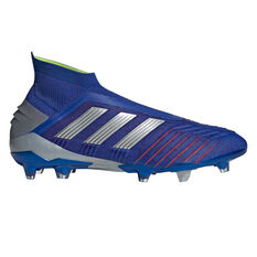 adidas Predator 19+ Mens Football Boots Blue / Silver US Mens 7 / Womens 8, Blue / Silver, rebel_hi-res