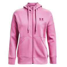 Under Armour Womens Rival Fleece Full Zip Hoodie Pink XS, Pink, rebel_hi-res