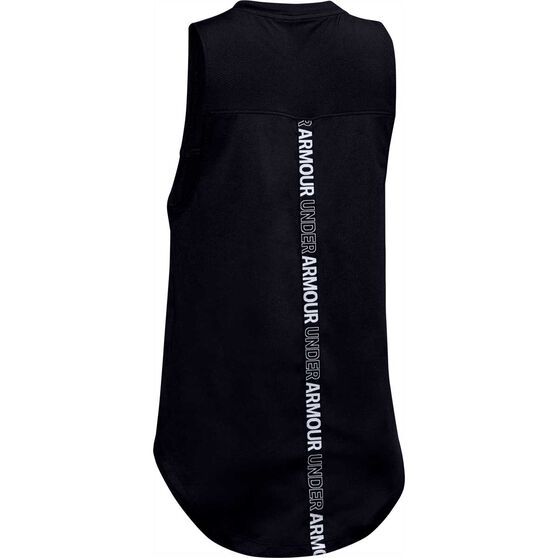 Under Armour Girls HeatGear Tank, Black / White, rebel_hi-res