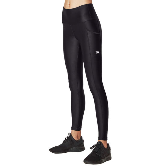 Running Bare Womens Power Moves Full Length Tights, Black, rebel_hi-res