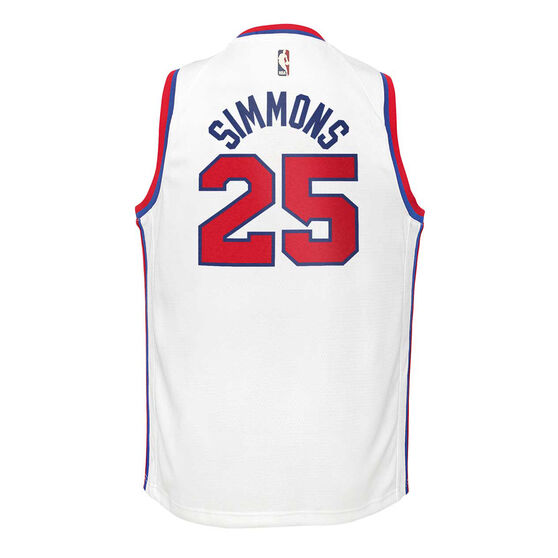Nike Philadelphia 76ers Ben Simmons 2019/20 Youth Icon Edition Jersey, White, rebel_hi-res