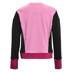 Under Armour Womens Rival Terry Crew Sweater Pink XS, Pink, rebel_hi-res