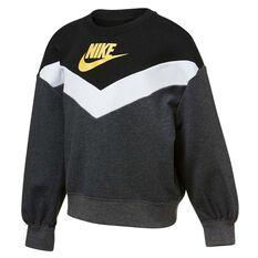 Nike Girls Go For Gold Crew Grey/Black 4 4, Grey/Black, rebel_hi-res