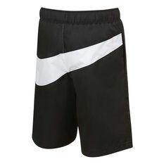 Nike Boys Oversized Swoosh Woven Shorts Black 4, Black, rebel_hi-res
