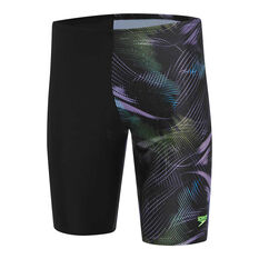 Speedo Mens Leisure Orion Waterboy Swim Shorts Black/Blue 14, Black/Blue, rebel_hi-res