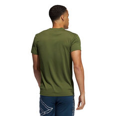 adidas Mens AEROREADY 3-Stripes Tee Khaki S, Khaki, rebel_hi-res