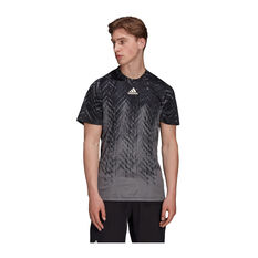 adidas Mens Tennis Primeblue Freelift Printed Tee Grey S, Grey, rebel_hi-res