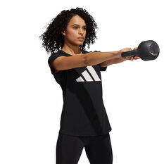 adidas Womens 3-Stripes Training Tee, Black, rebel_hi-res
