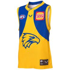 West Coast Eagles 2021 Kids Away Guernsey Yellow S, Yellow, rebel_hi-res