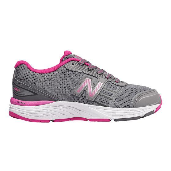 New Balance 680v5 Kids Running Shoes Grey / Pink US 6, Grey / Pink, rebel_hi-res