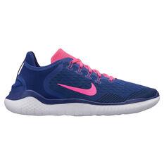 Nike Free RN 2018 Womens Running Shoes Blue / Pink US 6, Blue / Pink, rebel_hi-res