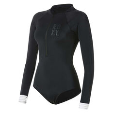 Roxy Womens Fitness Long Sleeved Zipped One Piece, Black / White, rebel_hi-res