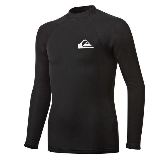 Quiksilver Boys Heater Long Sleeve Rash Vest, Black, rebel_hi-res
