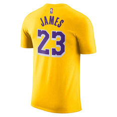 Los Angeles Lakers LeBron James Mens Dry Tee Yellow S, Yellow, rebel_hi-res