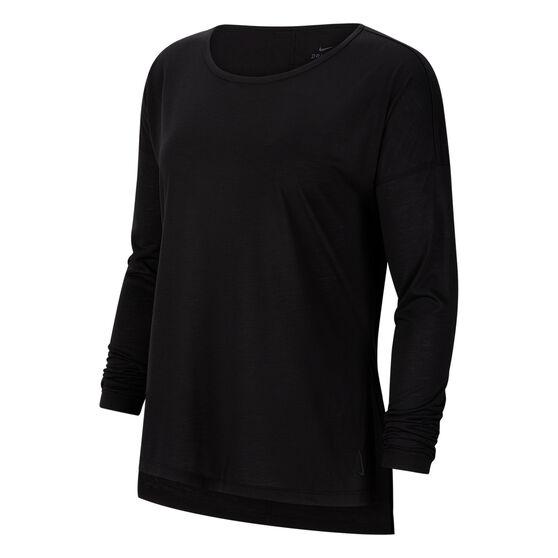 Nike Womens Yoga Dri FIT Long Sleeve Top, Black, rebel_hi-res