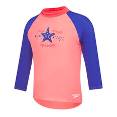 Speedo Girls Leisure Bright Star Rash Vest Pink/Blue 2, Pink/Blue, rebel_hi-res