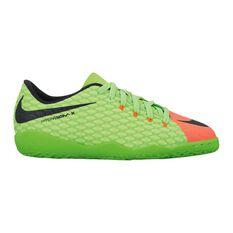 Nike HyperVenomX Phelon III Junior Indoor Soccer Shoes Green / Black US 1, Green / Black, rebel_hi-res