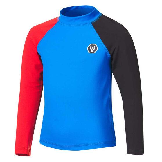 Tahwalhi Boys Shark Bait Long Sleeve Rash Vest, Blue/Red, rebel_hi-res