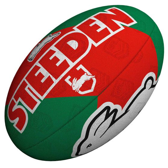Steeden NRL South Sydney Rabbitohs Supporter Rugby League Ball Red/Greed 5, , rebel_hi-res