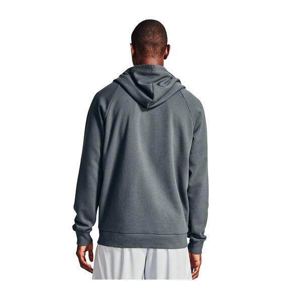 Under Armour Mens Volume Fleece Rival Full Zip Cotton Hoodie, Grey, rebel_hi-res