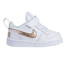 new style d2846 0a800 Nike Court Borough Low Cut Toddlers Shoes White   Gold 2, White   Gold, ...