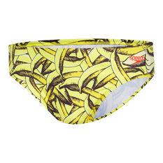 Speedo Mens Escape Ripe 5cm Swim Briefs Yellow 10, Yellow, rebel_hi-res