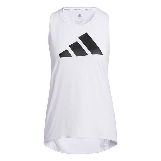 adidas Womens 3-Stripes Logo Tank, White, rebel_hi-res