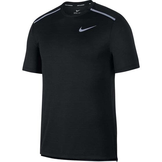 Nike Mens Dri-FIT Miler Short-Sleeve Running Top, Black, rebel_hi-res