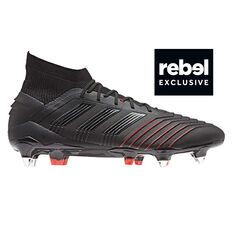 adidas Predator 19.1 SG Mens Football Boots Black / Red US 7, Black / Red, rebel_hi-res