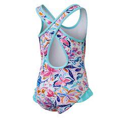 Tahwalhi Toddler Girls Crayon Colourbook One Piece Swimsuit White / Blue 3, White / Blue, rebel_hi-res