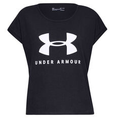 Under Armour Womens Sportstyle Graphic Tee Black XS, Black, rebel_hi-res