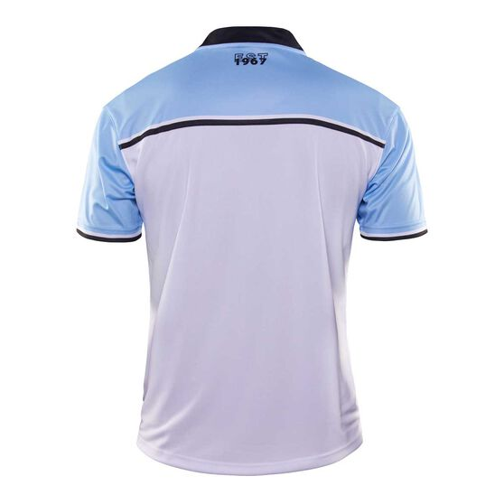 Cronulla-Sutherland Sharks 2020 Mens Pre Season Polo, White / Blue, rebel_hi-res