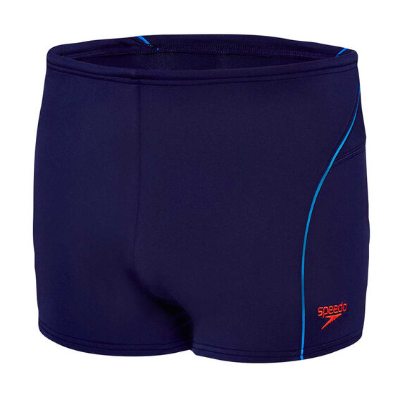 Speedo Mens Endurance Logo Swim Shorts, Navy / Red, rebel_hi-res