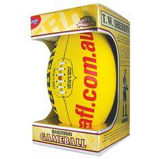 Sherrin Official AFL Game Ball Yellow, Yellow, rebel_hi-res